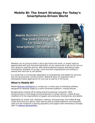 MOBILE BI: THE SMART STRATEGY FOR TODAY�S SMARTPHONE-DRIVEN WORLD