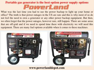 Portable gas generator is the best option power supply options