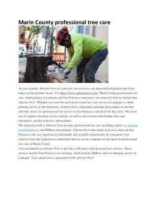 Marin County professional tree care