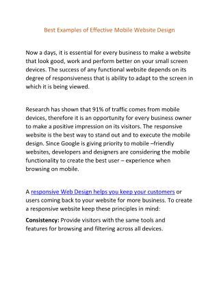 Best Examples of Effective Mobile Website Design