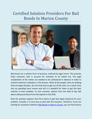 Certified solution providers for Bail Bonds In Marion County