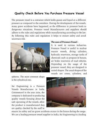 Quality Check Before You Purchase Pressure Vessel