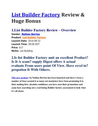 List Builder Factory Review