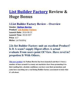 List Builder Factory Review