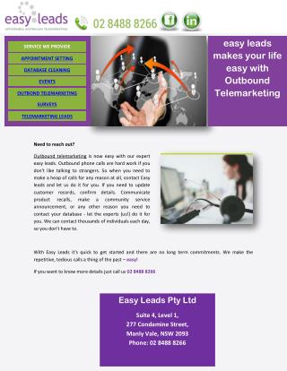 easy leads makes your life easy with Outbound Telemarketing