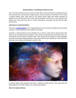 Spiritual Advisor - Private Reading