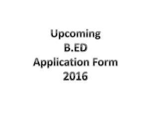 B.Ed Application Form 2017