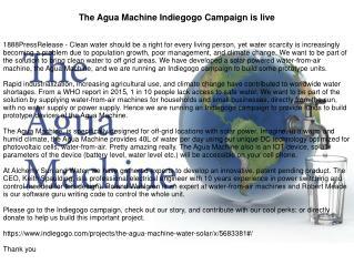 The Agua Machine Indiegogo Campaign is live