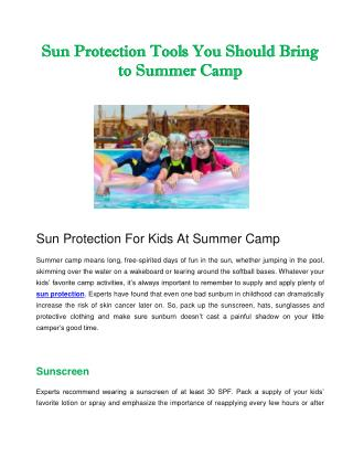 Sun Protection Tools You Should Bring to Summer Camp