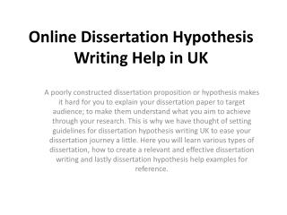 Get Online Dissertation Hypothesis Writing Help by UK Experts