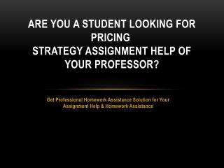 PricingStrategy Assignment Help