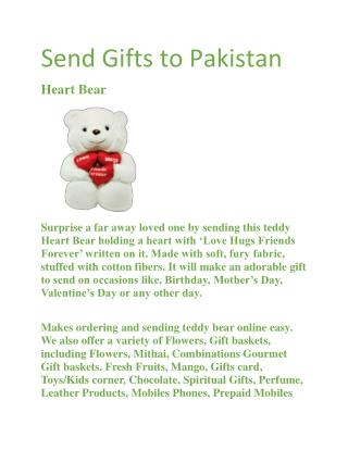 Send Gifts to Pakistan | Teddy Bear Heart Designer Cake