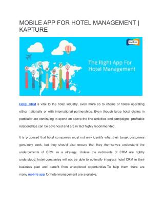 Mobile App For Hotel Management | Hotel CRM Software | Kapture