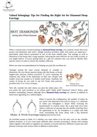 Esteemed effects Tips for finding the right set for diamond hoop earrings