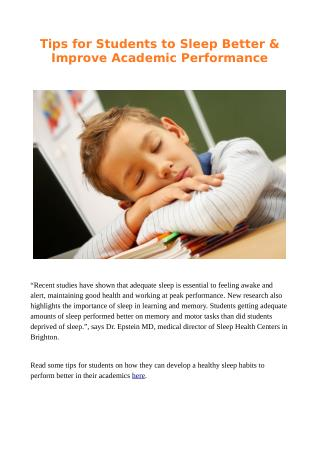 Tips for Students to Sleep Better & Improve Academic Performance
