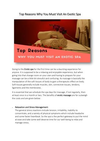 Top Reasons Why You Must Visit An Exotic Spa
