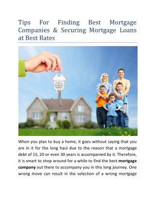 Tips For Finding Best Mortgage Companies & Securing Mortgage Loans at Best Rates