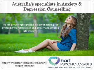 Expert Psychologists in Anxiety & Depression