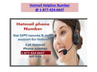 Hotmail helpline Number 1-877-424-6647