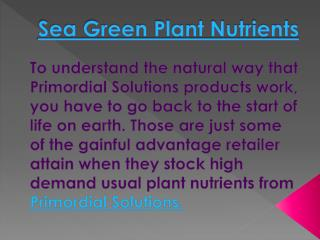 Sea Green Nutrient  | Call us 866-846-7426