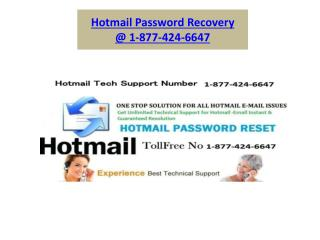 Hotmail password recovery 1-877-424-6647