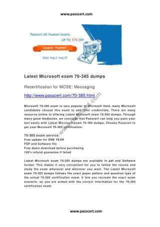 Microsoft exam 70-385 dumps