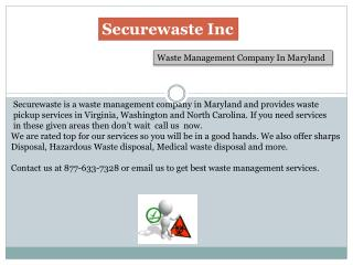 Best Waste management company in Maryland