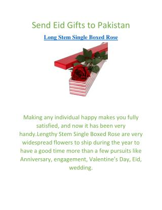 Send Gifts to Pakistan | Long Stem Single Boxed Rose