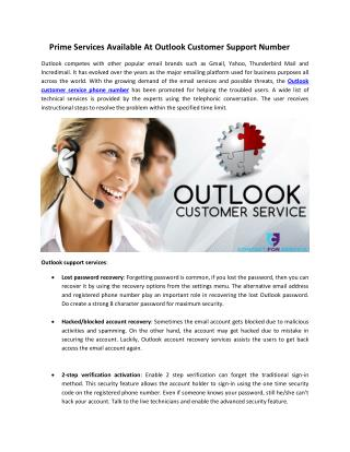Prime Services Available At Outlook Customer Support Number