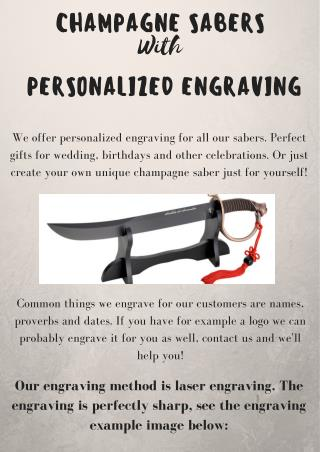 Get Champagne Saber with Personalized Engraving