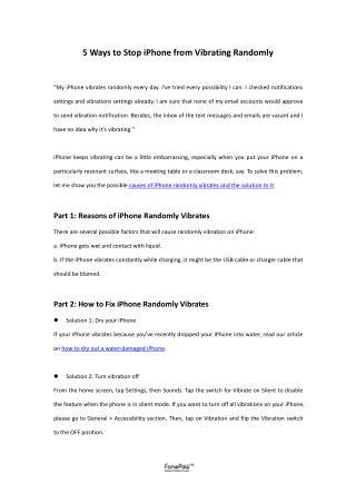 5 Ways to Stop iPhone from Vibrating Randomly