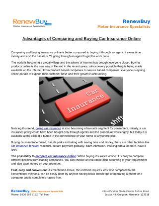 Advantages of Comparing and Buying Car Insurance Online
