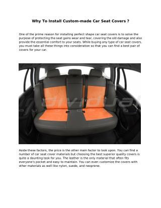 Why To Install Custom-made Car Seat Covers ?