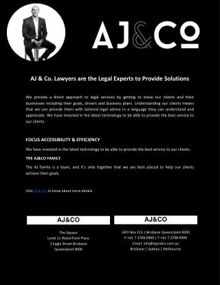 AJ & Co. Lawyers are the Legal Experts to Provide Solutions