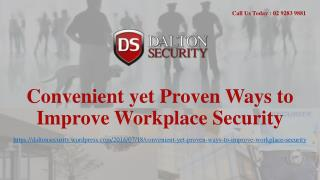 Convenient yet Proven Ways to Improve Workplace Security