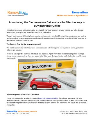 Introducing the Car Insurance Calculator - An Effective way to Buy Insurance Online