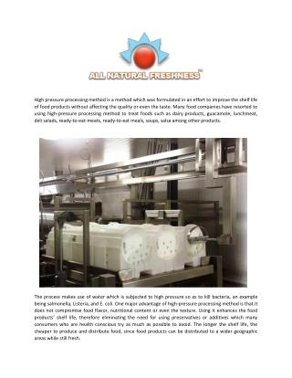 High Pressure Processing Improves Foods Shelf Life