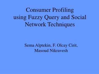 Consumer Profiling using Fuzzy Query and Social Network Techniques