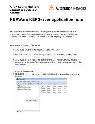 KEPWare KEPServer application note