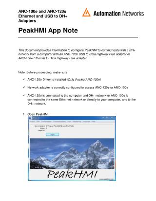 PeakHMI Application Note
