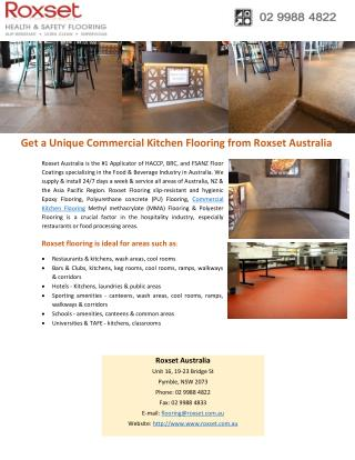 Get a Unique Commercial Kitchen Flooring from Roxset Australia