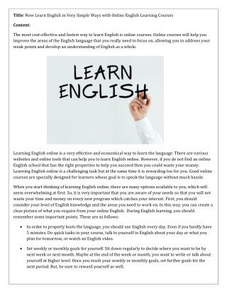 Now Learn English in Very Simple Ways with Online English Learning Courses