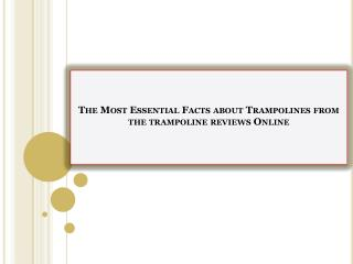 The Most Essential Facts about Trampolines from the trampoline reviews Online