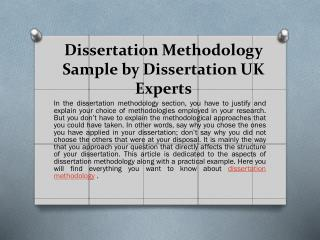 Get Dissertation Methodology Help With Sample & Examples by UK Experts