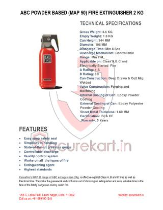 CEASEFIRE  ABC POWDER BASED (MAP 50) FIRE EXTINGUISHER - 2 KG SPECIFICATIONS