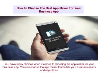 How To Choose The Best App Maker For Your Business App
