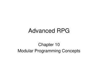 Advanced RPG