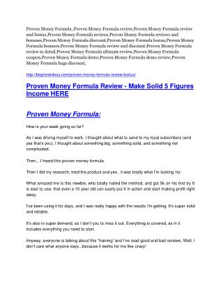 Proven Money Formula review and (COOL) $32400 bonuses