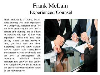 Frank McLain - Experienced Counsel