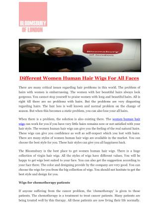 Different Women Human Hair Wigs For All Faces